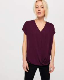 Cap Sleeve Wrap Blouse