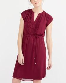 Cap Sleeve Solid Shirt Dress
