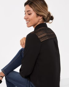 ¾ Sleeve Blouse with Crochet