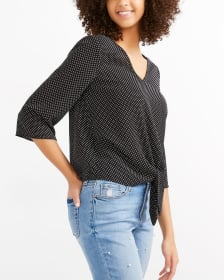 Tie Front Printed Blouse
