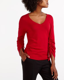 Long Ruched Sleeve Sweater