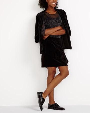 Ruffle Velvet Skirt