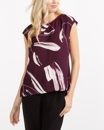 Willow & Thread Cap Sleeve Printed Blouse