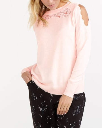 Lace Insert Cold Shoulder Sweater