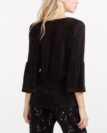 ¾ Bell Sleeve Pleated Top