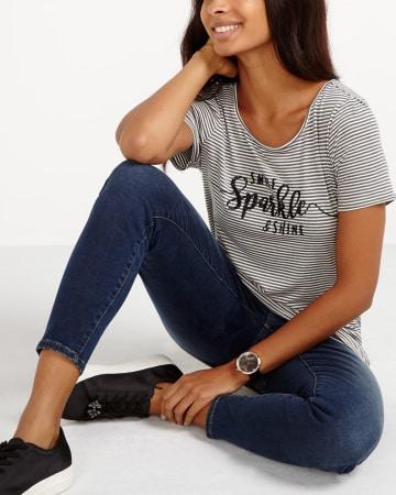 T-shirt rayé à fibres métalliques