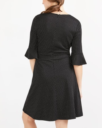 ¾ Sleeve Polka Dot Dress
