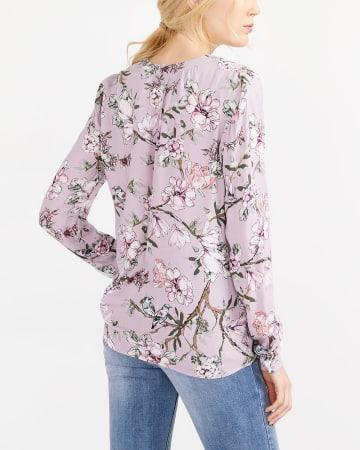 Adjustable Sleeve Printed Blouse
