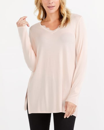 Long Sleeve Lace Insert Tunic Top