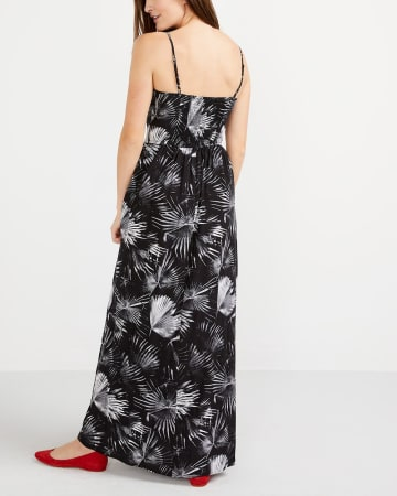 Adjustable Strap Printed Maxi Dress
