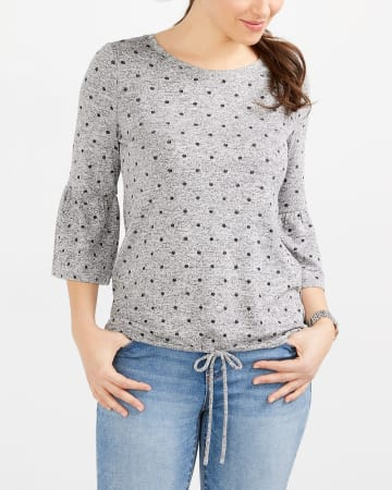 ¾ Bell Sleeve Printed Top