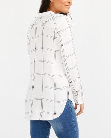 Adjustable Sleeve Plaid Shirt