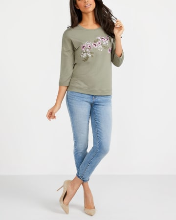 ¾ Sleeve Embroidered Flower Top