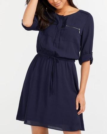 Adjustable Sleeve Pocket Dress