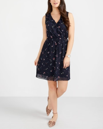 Sleeveless Ruffle Printed Dress