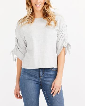 Shirred ¾ Sleeve Sweater