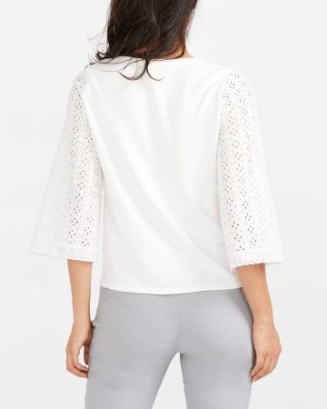 ¾ Sleeve Crochet Lace Top
