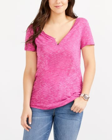 T-shirt Henley à manches courtes