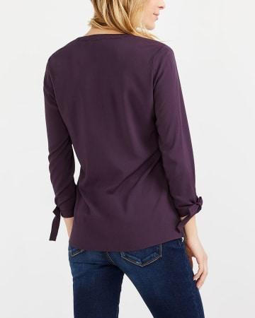 Tie Sleeve V-Neck Blouse