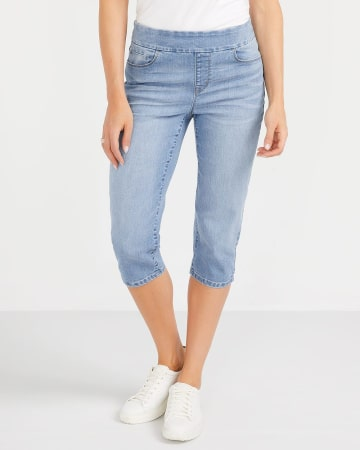 Capri en jeans délavé