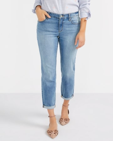 Petite Floral Embroidery Cropped Jeans