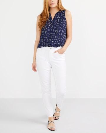 Jeans à la cheville blanc Long