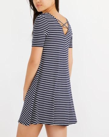 Reversible Cross Detail Striped Dress
