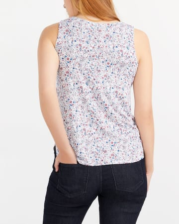 Sleeveless Printed Top with Crochet
