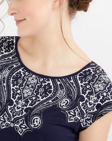 Tie Detail Printed T-Shirt