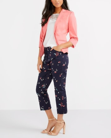Cotton Blend Printed Cropped Pants