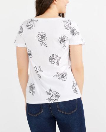 T-shirt imprimé à manches tulipe