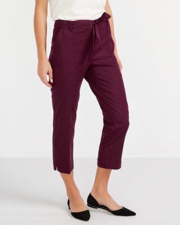 Linen Blend Crop Pants with Sash