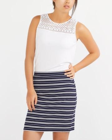 Elastic Waistband Striped Skirt
