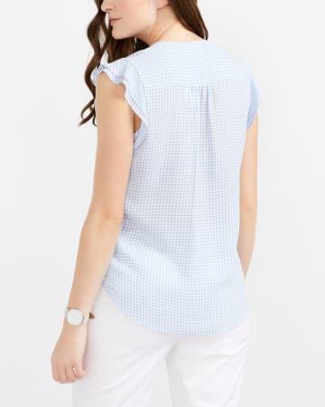 Ruffle Cap Sleeve Printed Blouse