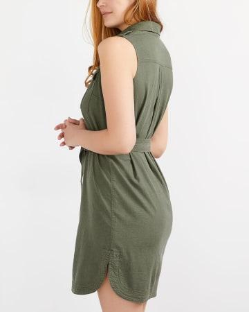 Sleeveless Linen Shirt Dress