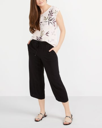 Solid Wide Leg Cropped Pants