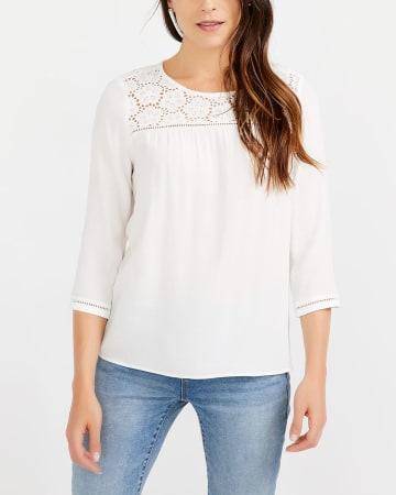 ¾ Sleeve Crochet Blouse