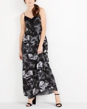 Adjustable Strap Printed Maxi Dress