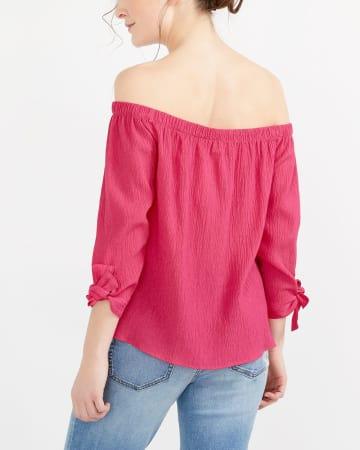 Off-The-Shoulder Solid Blouse