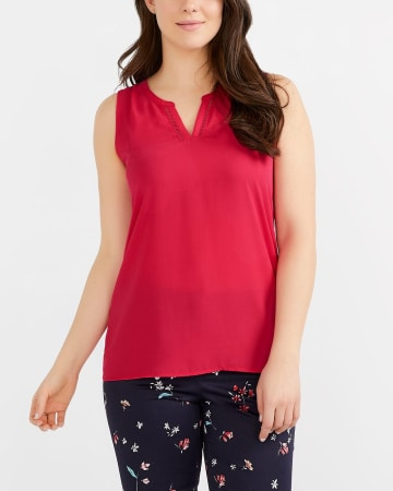 Sleeveless Mix Media Top
