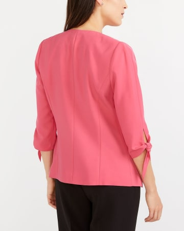 Knotted Sleeve Open Blazer