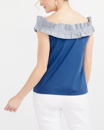 Ruffle Cold-Shoulder Mix Media Top