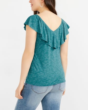 Ruffle V-Neck Solid Top