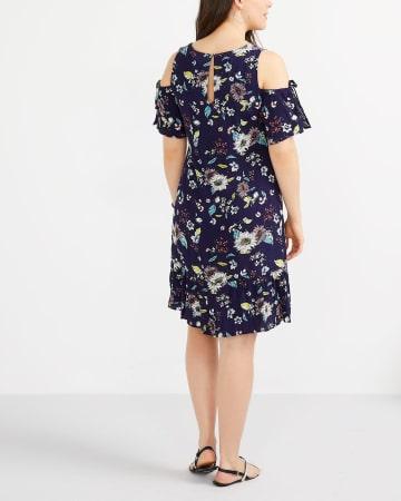 Cold-Shoulder Printed Dress