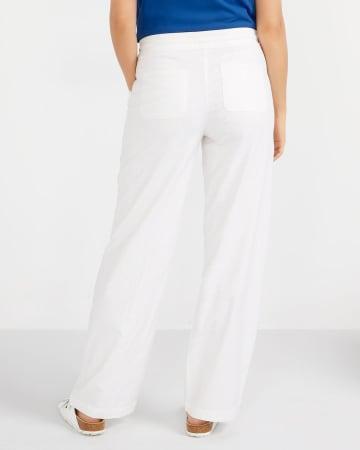 Petite Linen Blend Wide Pants