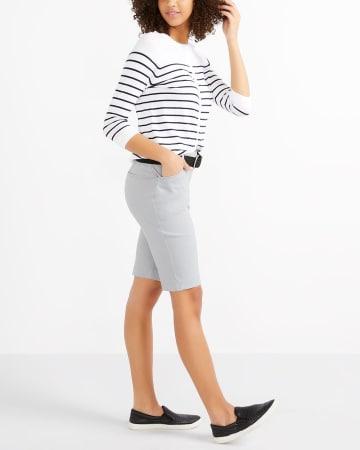 R Essentials ¾ Sleeve Effortless Striped Cardi