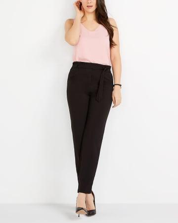 Pantalon à taille froncée skinny Petite
