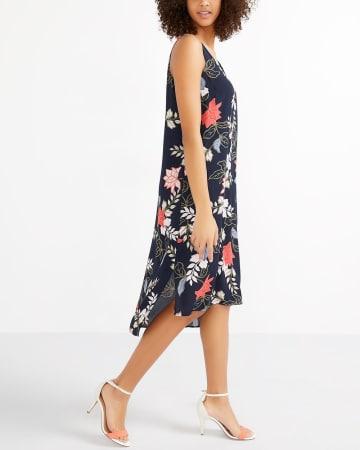 Sleeveless High-Low Hem Printed Dress