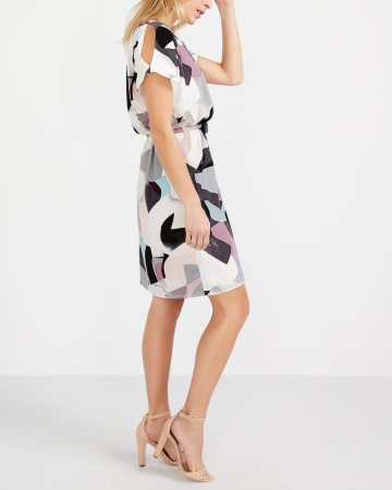 Willow & Thread Printed Cold-Shoulder Dress