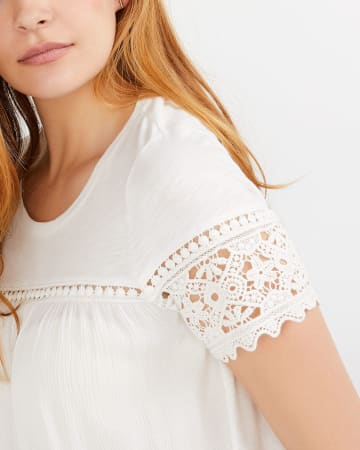 Crochet Detail Mix Media Top